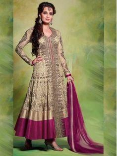 Beige with Pink Diya Mirza heavy embroidery Anarkali Salwar Kameez