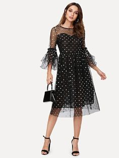 SheIn offers Polka Dot Tiered Ruffle Sleeve Semi Sheer Dress & more to fit your fashionable needs. Sexy Dresses, Stunning Dresses, Dresses With Sleeves, Sheer Sleeve Dress, Sheer Dress, Ruffle Sleeve, Winter Dress Outfits, Fall Dresses, Evening Dresses
