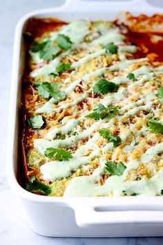 Cafe Rio style sweet pork in a family-friendly stacked enchilada casserole! Cafe Rio, Pork Recipes, Cooking Recipes, Healthy Recipes, Pork Dishes, Tasty Dishes, Mexican Dishes, Mexican Food Recipes, Poppy Seed Chicken Casserole