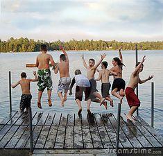 The joy of jumping in the Lake Mah-Kee-Nac,  Lenox, Mass.