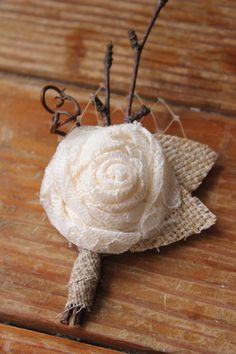 Rustic Country Burlap & Lace Wedding Boutonnieres by dustyLuck