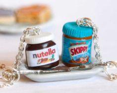 BFF nutella et l'arachide beurre colliers, amant de Nutella, bff colliers, bijoux alimentaire miniature, kawaii bff colliers, meilleurs amis pour toujours