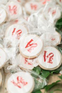 red modern love wedding cookies