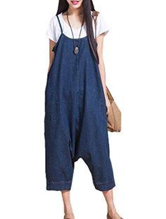 f9df8470c2d0e Amazon.com  Minibee Women s Fahion Denim Bib Overalls Jumpsuits Baggy Pants  Black 1  Clothing