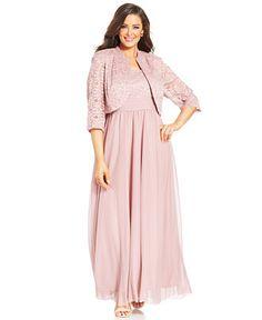 R&M Richards Plus Size Lace Empire-Waist Gown and Jacket - Dresses - Plus Sizes - Macy's