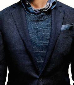 winter layers // menswear, pocket square, sweater Eclectic Style, Menswear, Blazer, Elegant, Denim, Mens Fashion, Dapper, Jackets, Accessories