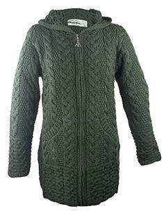 The Irish Store - Irish Gifts from Ireland 100 Irish Merino Wool Ladies  Hooded Aran Zip c1c196f9bc