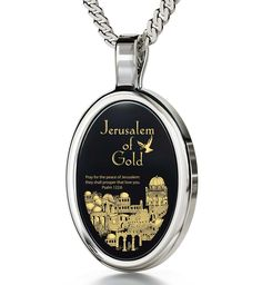 """Jerusalem of Gold, 14k White Gold Necklace, Onyx. Holy city of Jerusalem and Psalm 122:6 Prayer for Peace in 24k gold Natural Onyx Stone 14k White Gold oval frame (29.5mm x 17mm) Sterling Silver Rhodium Plated Italian Rolo chain, 18"""" (45cm) Keep Jerusalem in their heart and prayers through this necklace with meaning A meaningful gift for him or her lovingly bundled with a petite magnifying glass inside a modern box"""