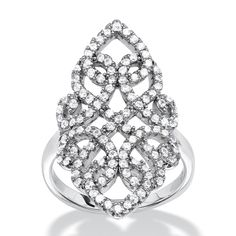 With scrolling strands of glittering micro-pave czs, this vintage-style cocktail ring is all glamour and Hollywood-style-ddMifgeA