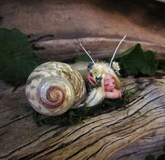 Cute & Tiny Mermaid Mersnail Fairy in Shell by by scarletsbones