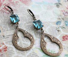 Arabian Romance Earring. Vintage Aqua Jewel Morrocan Inspired Pendant.