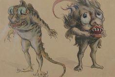 Vente du vendredi 14 novembre par Ader à Paris: SEM (1863-1934). Monstres. Gouache sur carton. Signée en bas à droite. (Déchirure). 19 x 29 cm. ESTIMATION 400 € - 500 €