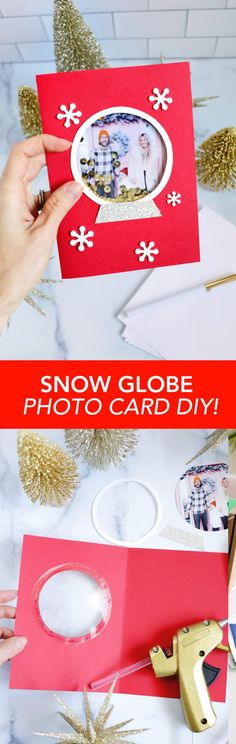 Snow Globe Photo Card DIY! - A Beautiful Mess Christmas Holidays, Christmas Crafts, Christmas Stuff, Ugly Xmas Sweater, Create Your Own Card, Fun Activities To Do, Beautiful Mess, Vintage Cards, Photo Cards