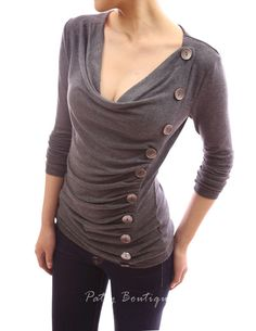 Cowl Neck Button Embellished Ruched Blouse Top - Patty Boutik, shop that has clothes that fit curvy women really well!  Got this sweater for Christmas.  Super comfy!