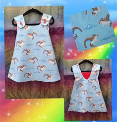 Handmade Baby Girls UNICORNS & RAINBOWS Crossover Sun Dress Made to Order #rileyblake #unicorns #rainbows