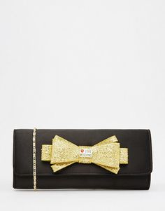 Love Moschino Satin Clutch with Gold Embellished Bow Asos Online Shopping, Online Shopping Clothes, Latest Fashion Clothes, Latest Fashion Trends, Embellished Purses, Bow Purse, Gold Purses, Moschino, Women Wear