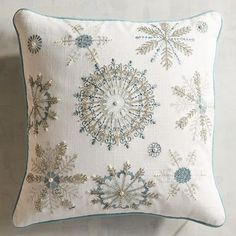 Just like a snowflake, each of our embroidered pillows varies slightly from one another. Shades of icy blue and metallic silver thread add a festive frosted look to your family room or living room. Christmas Rugs, Christmas Cushions, Christmas Pillow, Blue Christmas, Christmas Decorations, Christmas Crafts, Holiday Decor, White Pillows, Throw Pillows