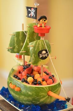 Watermelon Pirate Ship with blue Jello cubes for the ocean: I wonder if I will ever be brave enough to try this...