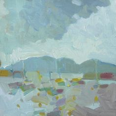 """""""View from Little Cranberry Island"""" by Henry Isaacs. 8"""" x 8"""" Oil.  www.maine-art.com."""