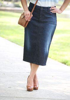 Zoe Premium Denim Skirt - Beautiful One Modest Apparel