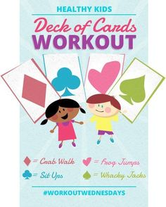 A fun way to incorporate activity for kids. The deck of card workout by @Drazil!  Think I might even try this for myself.