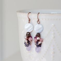 Light Blue Shell Agate Drop Pink Jade Iolite by YuniDesigns