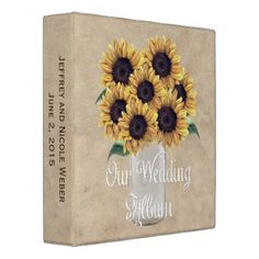 #wedding - #Rustic Barn Wedding Sunflower Mason Jar Album Binder