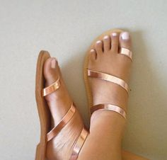 Beautiful, Handmade Greek Style Sandals made from Genuine Leather in Bronze // Rose gold color.