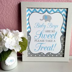 Baby Boys Are So Sweet Please Take A Treat Printable Elephant Baby Shower Candy Buffet Sign in Light Blue Chevron Gray Polka Dots - Girl Baby Showers Baby Shower Candy Table, Baby Shower Sweets, Boy Baby Shower Themes, Baby Shower Signs, Baby Boy Shower, Baby Shower Decorations, Christening Decorations, Peanut Baby Shower, Elephant Baby Showers