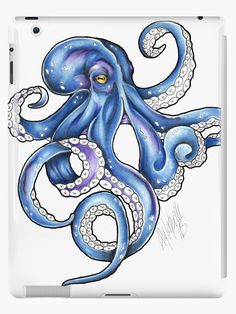 Octopus Drawing, Octopus Painting, Octopus Tattoo Design, Octopus Tattoos, Octopus Art, Fish Art, Cute Octopus Tattoo, Octopus Outline, Octopus Legs