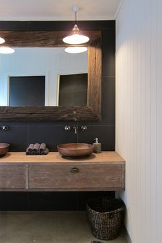 powder room mirror. Nice drawers