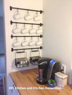 The ingenious Ikea space saver Fintorp in action - home diy organizations Diy Home Decor Rustic, Diy Kitchen Decor, Easy Home Decor, Kitchen Ideas, Kitchen Themes, Kitchen Designs, Kitchen Tips, Fintorp Ikea, Hanging Mugs