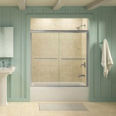 Kohler Grant Frameless Sliding Shower Door In Bright Polished Silver Features A Contemporary Design That Highlights The Showering Area