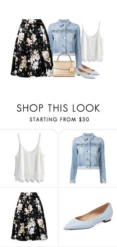 """""""Denim jacket (outfit only)"""" by blueeyed-dreamer ❤ liked on Polyvore featuring Chicwish, 3x1, Barbara Bui, MICHAEL Michael Kors, flats, denimjacket, floralskirt and outfitonly"""