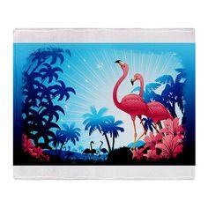 Pink Flamingos on Blue tropical art #CafePress!☆ by BluedarkArt
