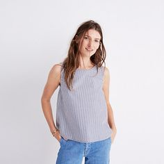 A simple striped tank with a pleated back for a breezy fit.