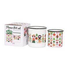 Set of two enamel flower pots with garden illustrations by Ingela P Arrhenius for Omm Design.