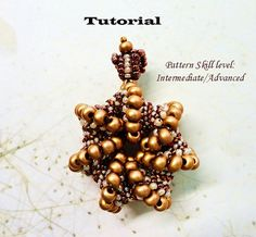 Beading tutorial instructions - beadweaving pattern beaded seed bead jewelry - ROYAL CROWN beadwoven pendant - beadwork