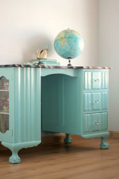 Minty Aqua ball and claw desk painted with home made chalk paint. Of course I'd prefer it in white....I LOVE the asymmetrical design.