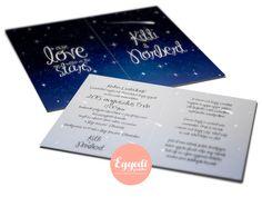 Éjszakai csillagos égboltot ábrázoló, különleges esküvői meghívó | Starry Night Sky Wedding Invitation