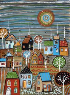 November 12x16 inch Houses Trees Birds Cats ORIG CANVAS PAINTING Folk Art Karla G.. 2014