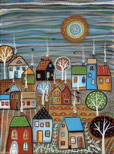 November 12x16 inch Houses Trees Birds Cats ORIG CANVAS PAINTING Folk Art Karla G.. 2014
