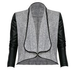 Mim - Gilet long ouvert empiècements simili 24€99 Gilet Long, Leather Jacket, Fashion, Down Jackets, Open Set, Fashion Styles, Studded Leather Jacket, Moda, Leather Jackets
