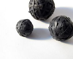 Decorative balls made from #recycled #bicycle inner tubes