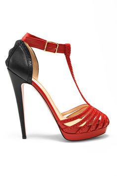 Phillip Lim black and red leather platform sandals 'Missy' 2010