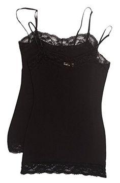f1806164b98 2 Pack Zenana Womens Lace Trim Tank Tops Large Black Black   Visit the  image link