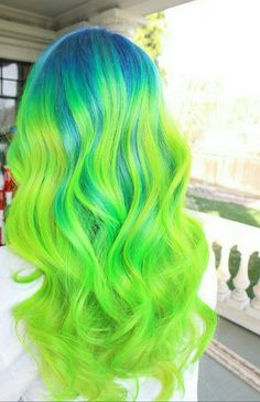 Neon blue green hair color ombré melt pravana Uploaded by user - Green Hair Inspiration - Blue Green Hair, Green Hair Colors, Bright Hair Colors, Hair Dye Colors, Ombre Hair Color, Colourful Hair, Bright Colored Hair, Bright Green, Weird Hair Colors