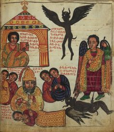"""""""Satan flew away like a raven when Euphemia showed him picture of St. Michael""""  by the scribe Zämänfäs Qeddus, late 17th century, tempera and ink on parchment, Ethiopia."""