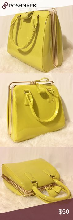"✨ Citron Patent Handbag Fun and unique! Gold hardware. Four interior pockets, two zippered compartments.?Detachable shoulder strap. Dust bag included. 11"" H x 11"" W x 6"" D. Never Carried Bags Satchels"