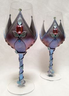 Polymer clay decorated wine glasses by Melody Tallon/Artefacts.
